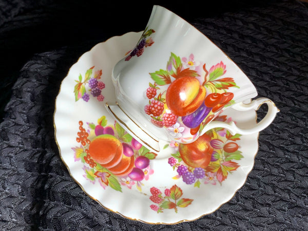 Royal Albert Tea Cup and Saucer, Fruit Motif, English Bone China Teacup -J