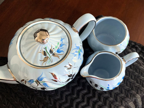 Sadler Single Serve Teapot Sugar and Creamer, Blue with Silver Trim Tea Pot, Made in England -J