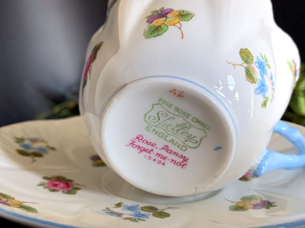 Shelley Teacup, Cup and Saucer, Rose Pansy Forget-me-not, English Bone China -J
