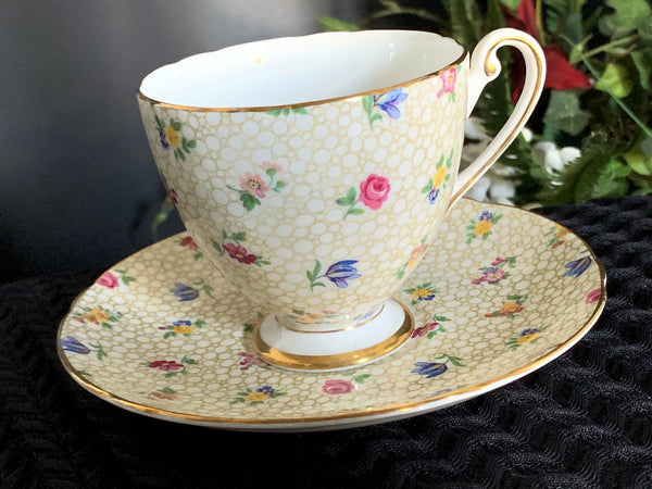 Shelley Teacup, Floral Chintz Ripon Tea Cup and Saucer, English Bone China -J