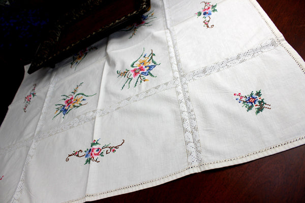 Small Vintage Tablecloth, Cross Stitched Linen Table Cloth, 12367 - The Vintage Teacup - 4
