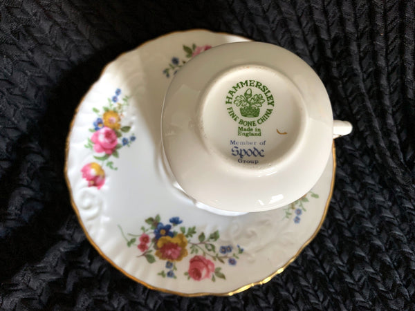 Hammersley Teacup and Saucer, Floral Tea Cup, Made in England -J