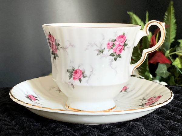 Hammersley Teacup and Saucer, Rose Chintz Tea Cup, Made in England -J