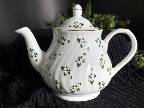Arthur Wood Shamrock Chintz Teapot, Full Sized Clover Tea Pot, Made in England -J