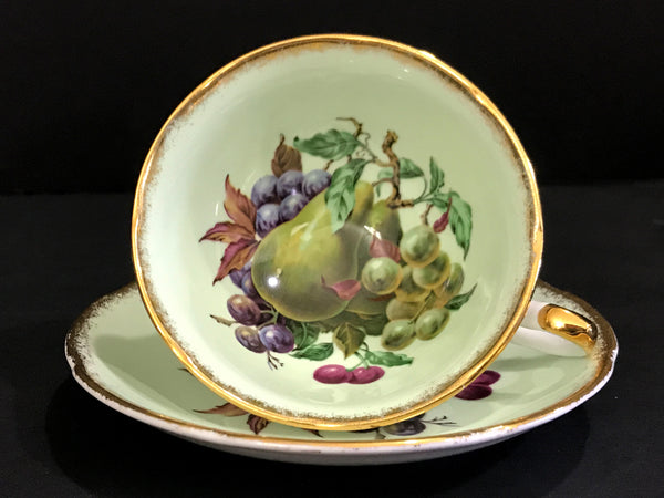 Royal Grafton Tea Cup and Saucer, Wide Mouthed, Green Base and Fruit Motif  -K