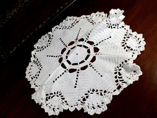 White Doily, Vintage Crochet Doilies, Large Crocheted Doily 12371 - The Vintage Teacup - 3
