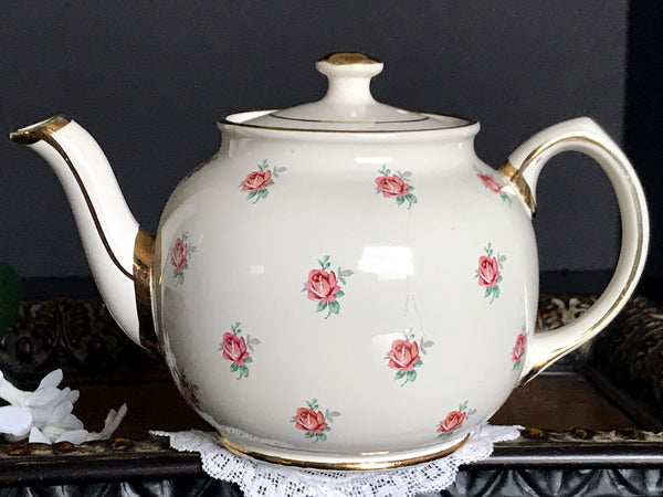 Sadler Chintz Tea Pot, Vintage Rose Bud Teapot, Porcelain Antique English Tea Pot 14156