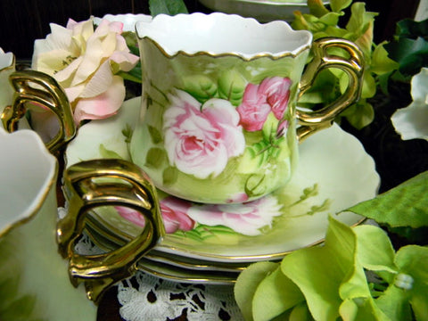 Lefton Heritage  Tea Cup, Teacup and Saucer, Made in Japan 9845 - The Vintage Teacup
