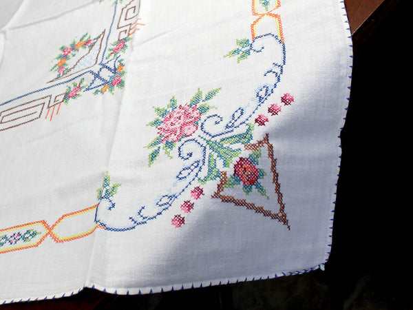 Vintage Tablecloth, Cross Stitched, Small Linen Table Cloth, 12347 - The Vintage Teacup - 2