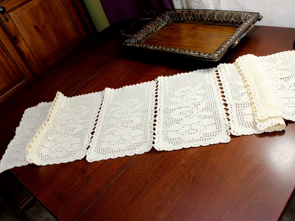 Cream Crocheted Table Runner, Sectioned Table Scarf, Vintage Table Linens 12376 - The Vintage Teacup - 4