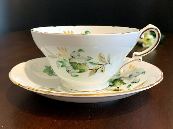 Wide Mouthed Teacup and Saucer, Stanley Bone China Tea Cup -J