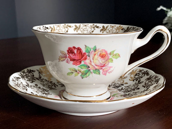 Royal Albert Cup & Saucer, Floral Gilt Chintz, Shabby Pink Roses, English Teacup -J