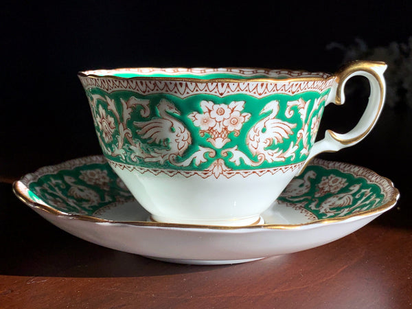 """Ellesmere"" Teacup & Saucer, Crown Staffordshire, Dragons & Floral Tea Cup, Made in England -J"