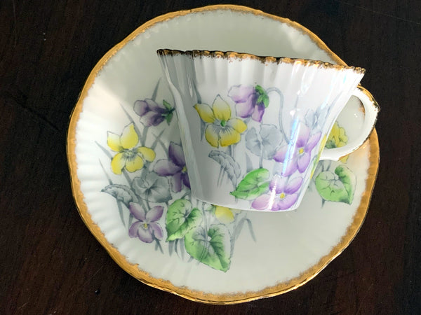 "Salisbury ""Violet"" Tea Cup and Saucer, Floral Teacup, Made in England -J"