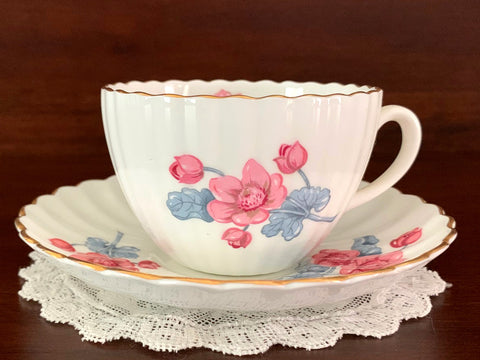 Radfords Cup and Saucer - White with Pink Flowers, Ribbed Teacup, England -J - The Vintage Teacup