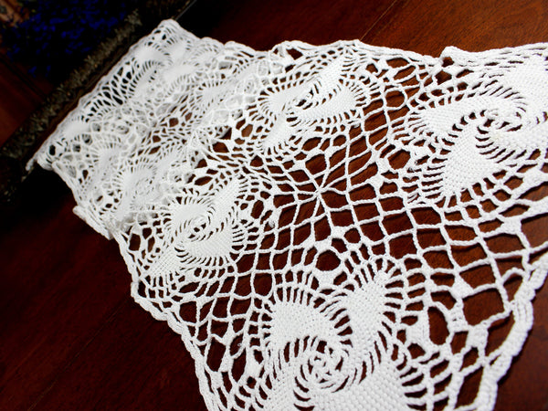 Crocheted Table Runner, Spiral Patterned Table Scarf, White Vintage Table Linens 12374 - The Vintage Teacup - 2