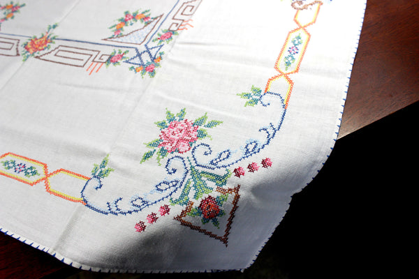 Vintage Tablecloth, Cross Stitched, Small Linen Table Cloth, 12347 - The Vintage Teacup - 5