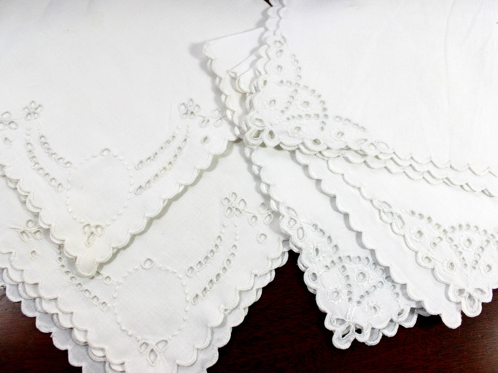 5 Madeira Like Napkins, Embroidered Serviettes, Non Matching but Same Sized 12375 - The Vintage Teacup - 1