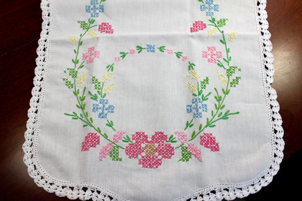 Cross Stitched Table Runner, Cross Stitched Linen Table Scarf, 12349 - The Vintage Teacup - 5