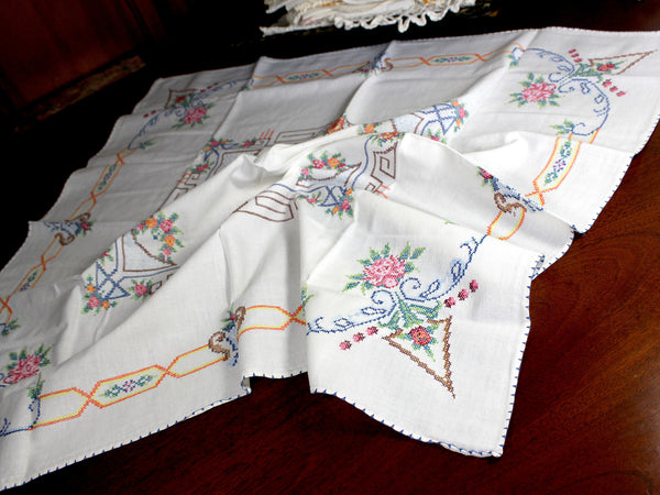 Vintage Tablecloth, Cross Stitched, Small Linen Table Cloth, 12347 - The Vintage Teacup - 3