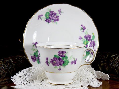 Colclough Cup and Saucer - White with Violets, Teacup -K