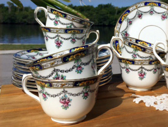 Hand Painted Teacups, Lot of Eight Cups and Side Plates, Celebrate China, Made in England -J - The Vintage Teacup