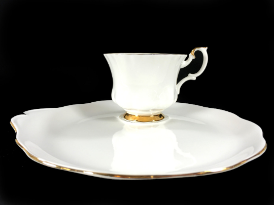Striking Royal Albert Val D'or Tea Cup and Snack Plate, Crisp White Teacup with Plate -J