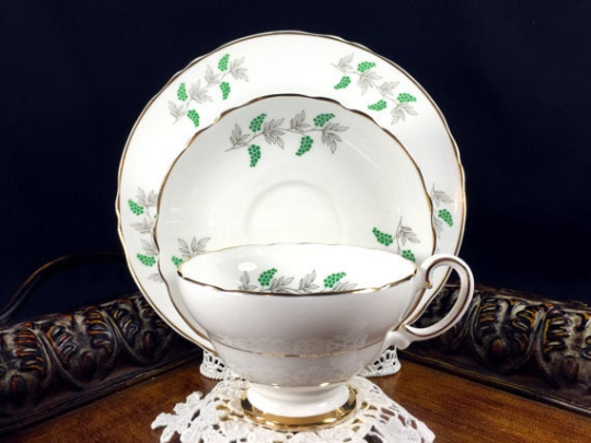 Crown Staffordshire Green Berries / Grapes Tea Cup Trio, English Teacup Saucer and Side Plate -J - The Vintage Teacup