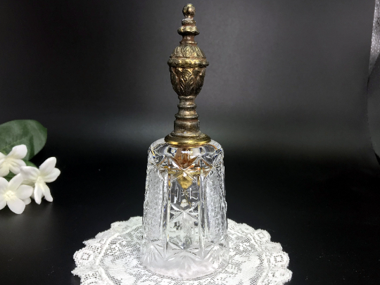 Lead Crystal Dinner Bell ,Cut Crystal with Brass Handle - Made in Germany -J - The Vintage Teacup
