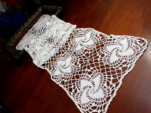 Crocheted Table Runner, Spiral Patterned Table Scarf, White Vintage Table Linens 12374 - The Vintage Teacup - 1