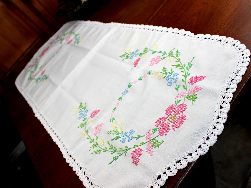 Cross Stitched Table Runner, Cross Stitched Linen Table Scarf, 12349 - The Vintage Teacup