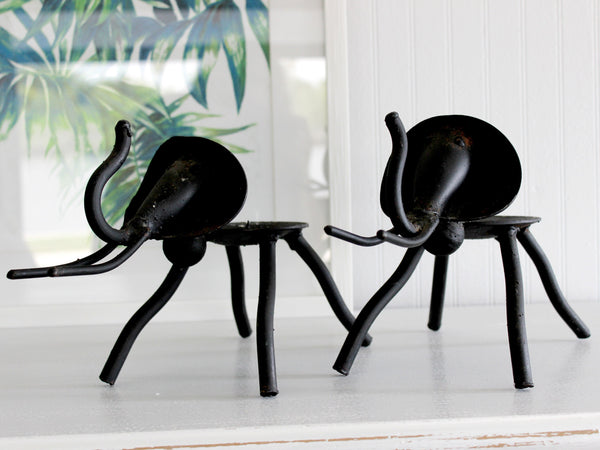 2 Rustic Metal Elephants, Candle Holders, Metal Art, Made in South Africa