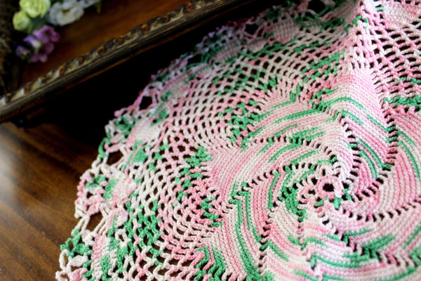 Crochet Doily, or Small Centerpiece - Pink and Green Doily, in Medium Weight Thread 14464 - The Vintage Teacup