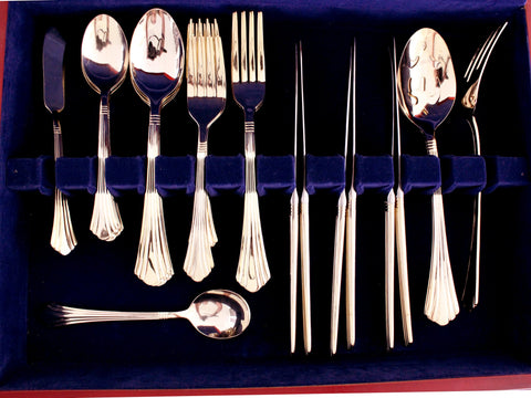 International Gold Tone Flatware Set 35 Piece With Case, Cutlery in Wood Box 15400