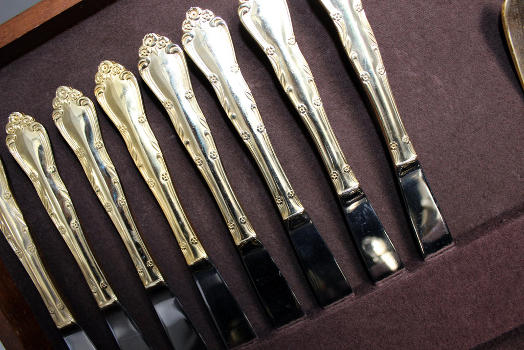 Gold Tone Flatware Set 44 Piece With Case, Cutlery in Box 13831