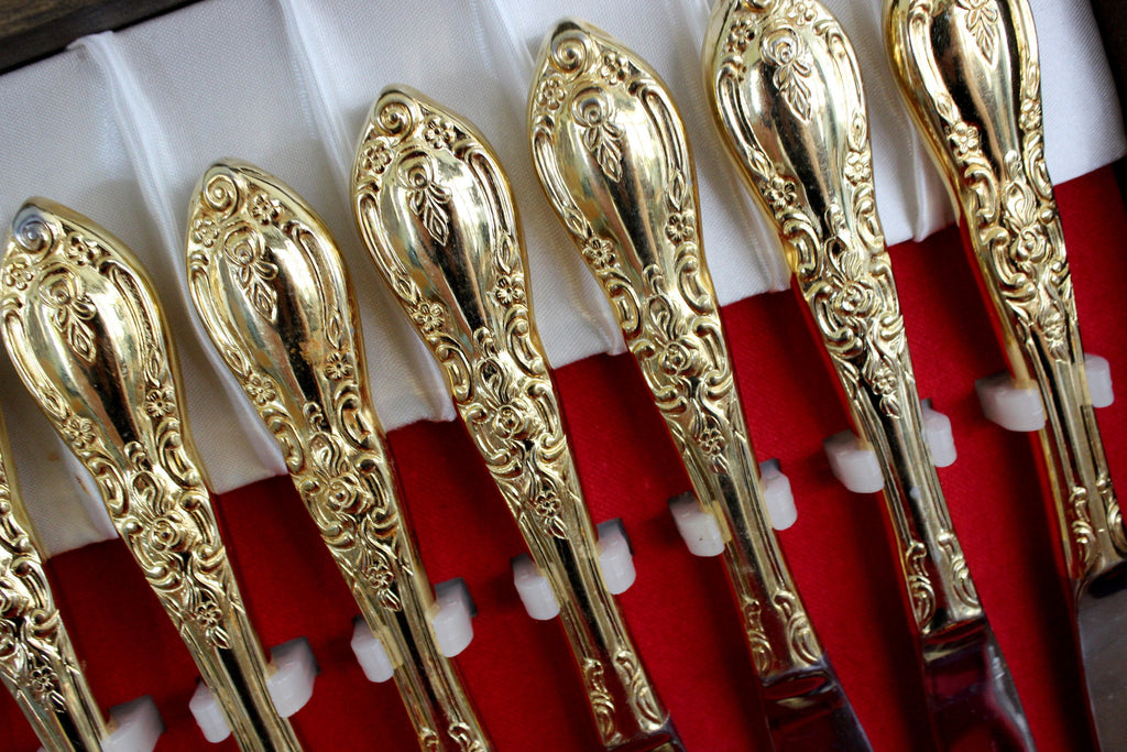 55 Piece Goldtone Flatware, Gold Tone Flat Ware Lot, Utensils, Korea, Vintage Cutlery in Box 15378