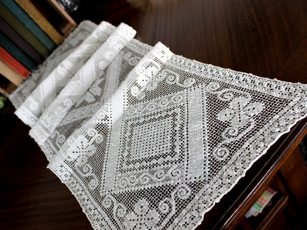 Filet Lace Runner, Off White, Light and Lacy Table or Mantle Scarf 15598 - The Vintage Teacup