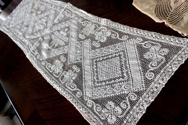 Filet Lace Runner, Off White, Light and Lacy Table or Mantle Scarf 15598