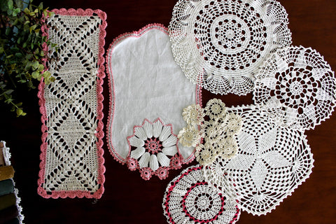7 Assorted Mixed Doilies, Hand Crocheted Doilies Lot, Dresser Doilies, Handmade Crochet 15761