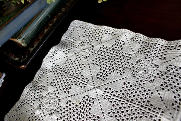 Filet Lace Runner, Off White, Light and Lacy Table or Mantle Scarf 15772