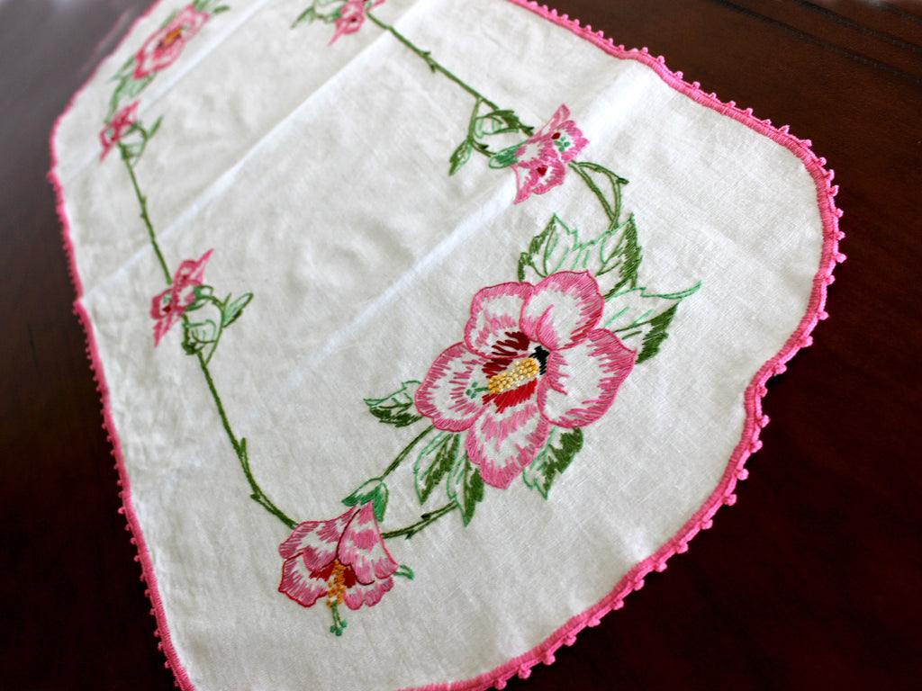 Vintage Embroidered Runner, Table Linens, Pink Embroidery, Crochet Edging 15860 - The Vintage Teacup
