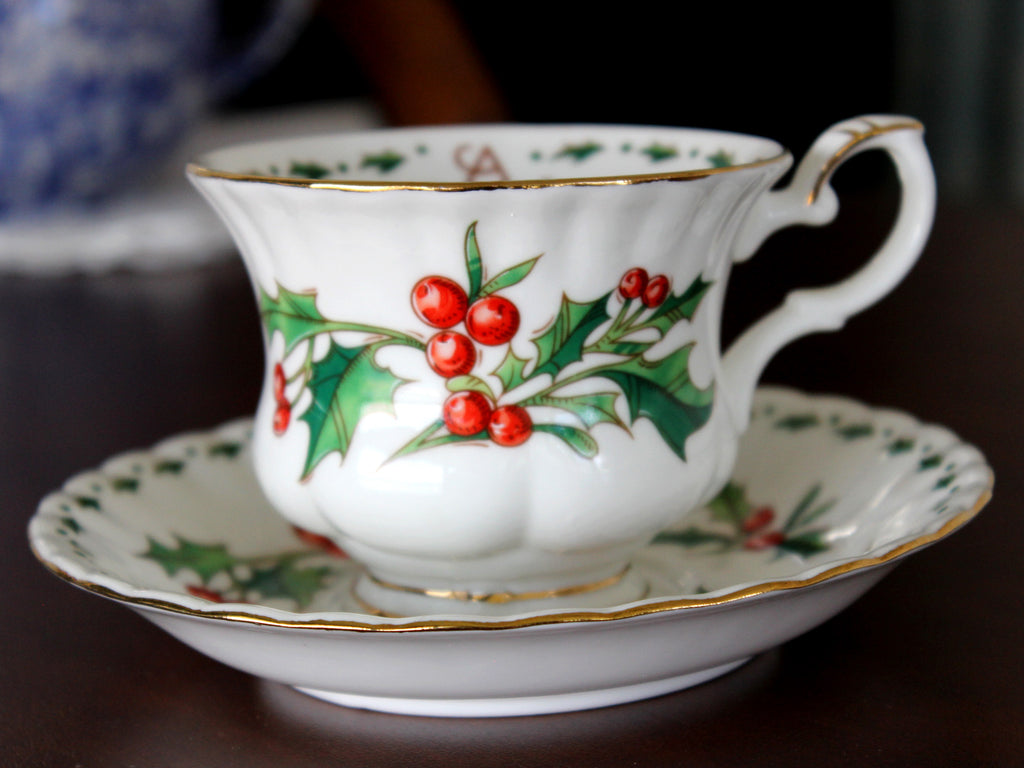 "Christmas Teacup, Holly Tea Cup and Saucer, ""A Cup of Christmas Tea"" -J - The Vintage Teacup"