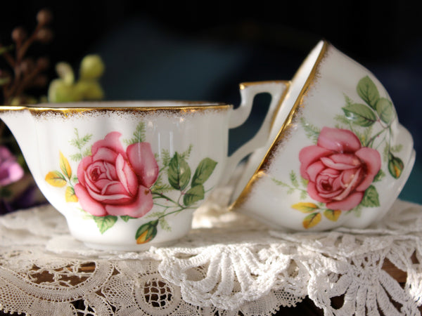 "Demitasse Salisbury Sugar Set, Demi ""EMILEE"" Creamer and Sugar, English Bone China -J"
