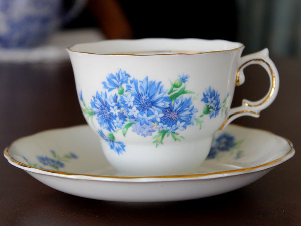 Blue Cornflower Teacup and Saucer, Colclough Cup, English China -J - The Vintage Teacup