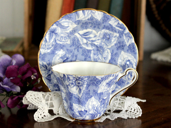 Royal Stafford, Tapestry Duo, Beautiful Blue Floral Chintz, Tea Cup & Saucer -J