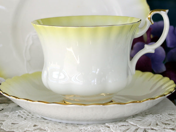 Yellow Rose Cup and Saucer, Clarence Footed Teacup, English Bone China 14106