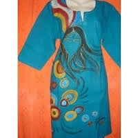 Blue Hand Work Painted Kurti