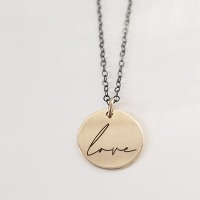Small Love Charm Necklace (Bi-Metal)
