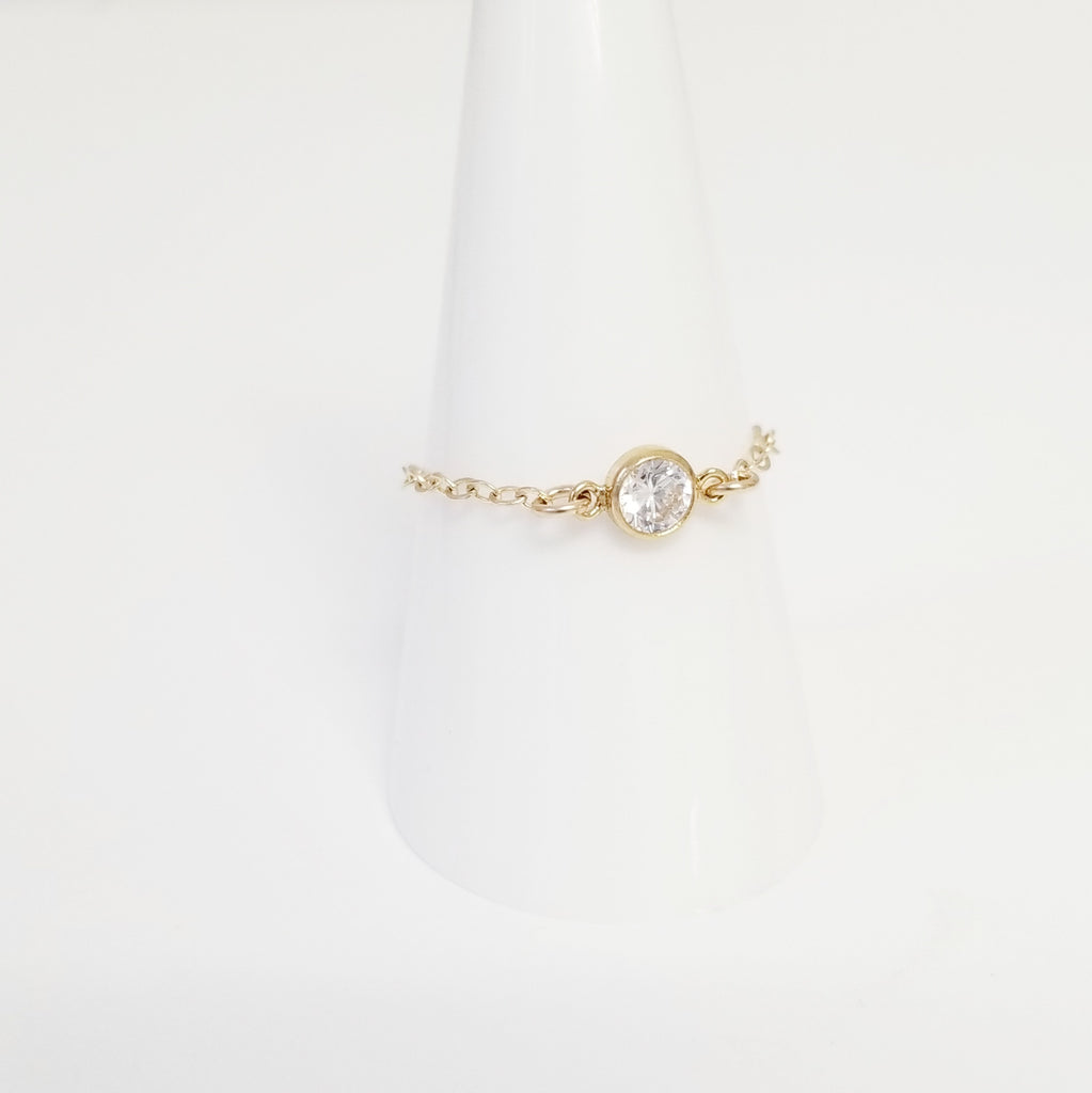 Chain Ring with CZ Stone | Chain Ringlet™
