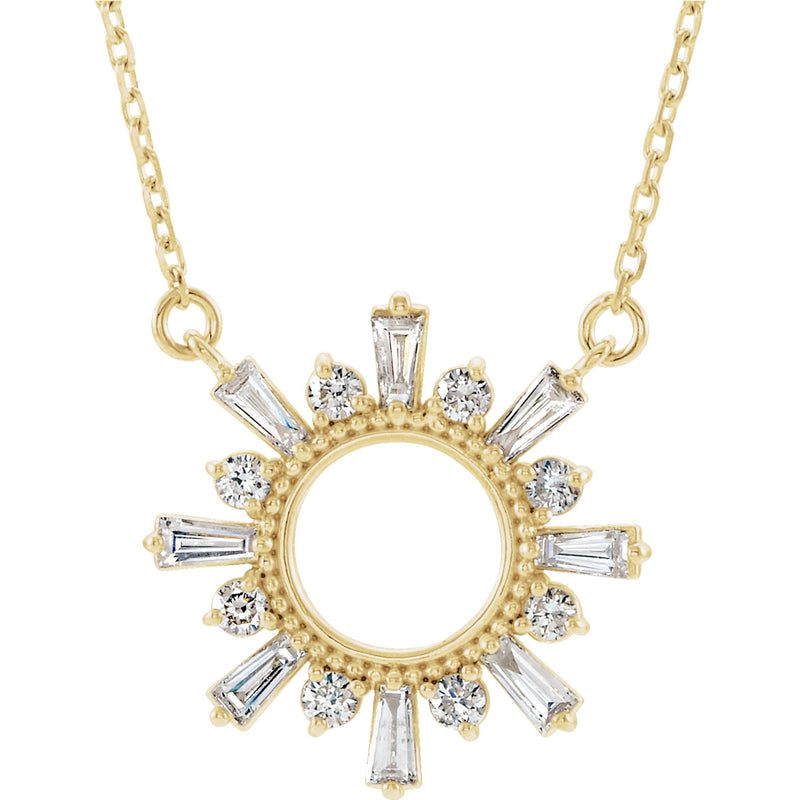 Diamond & Gold Sunburst Necklace